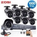 Zosi hd sistema de cctv 8ch hdmi 960 h dvr 8 pcs 1000tvl IR Ao Ar Livre Sistema de Câmera de Segurança de Vigilância de Vídeo de 8 canais DVR Kit