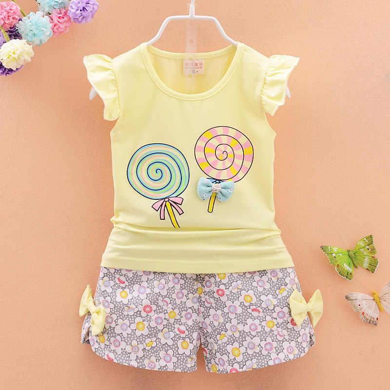 Для маленьких девочек летняя одежда 2018 корейский с коротким рукавом, футболка, топы + шорты с цветочным принтом комплект из 2 предметов, наряд для маленьких девочек дети Bebes костюмы