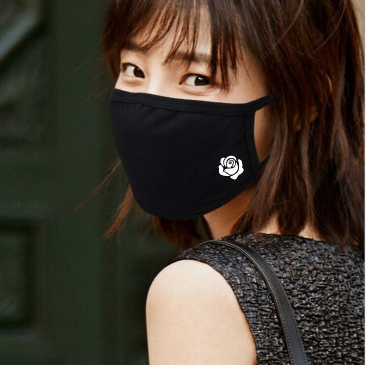 Rose Print Winter Warm Mouth Mask 14 Styles Men And Women New Cotton Fashion Black Riding Dust Cold Thickening Mouth Mask