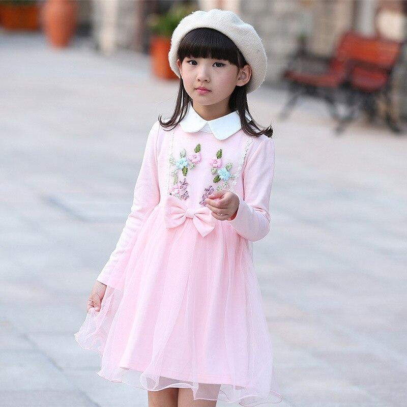 Pink Kids Girl Wedding Dresses Korean 2016 New Child Fashion Princess Sweet Spring Autumn Dress Lapel Embroidery Girls