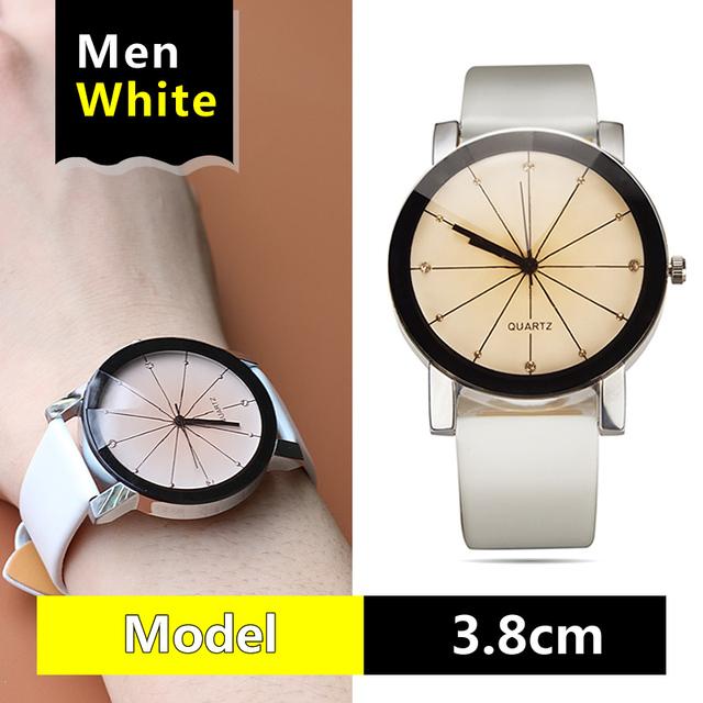 Bonito Reloj de cuarzo de alta calidad, relojes de pulsera de cuero con esfera para hombre y mujer, relojes deportivos geométricos, relojes de pulsera para amantes