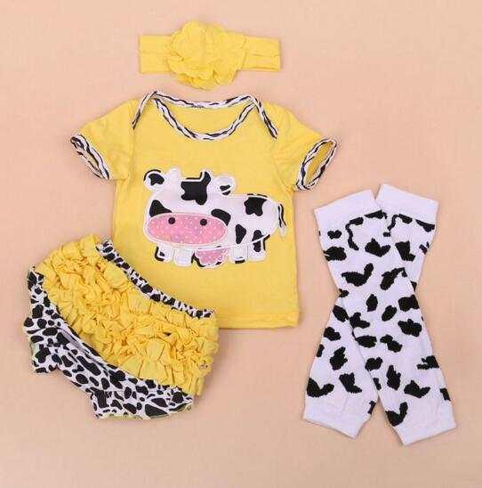 b648c3716 Online Shop 4pcs set reborn babies dolls clothes cute Cow short T ...