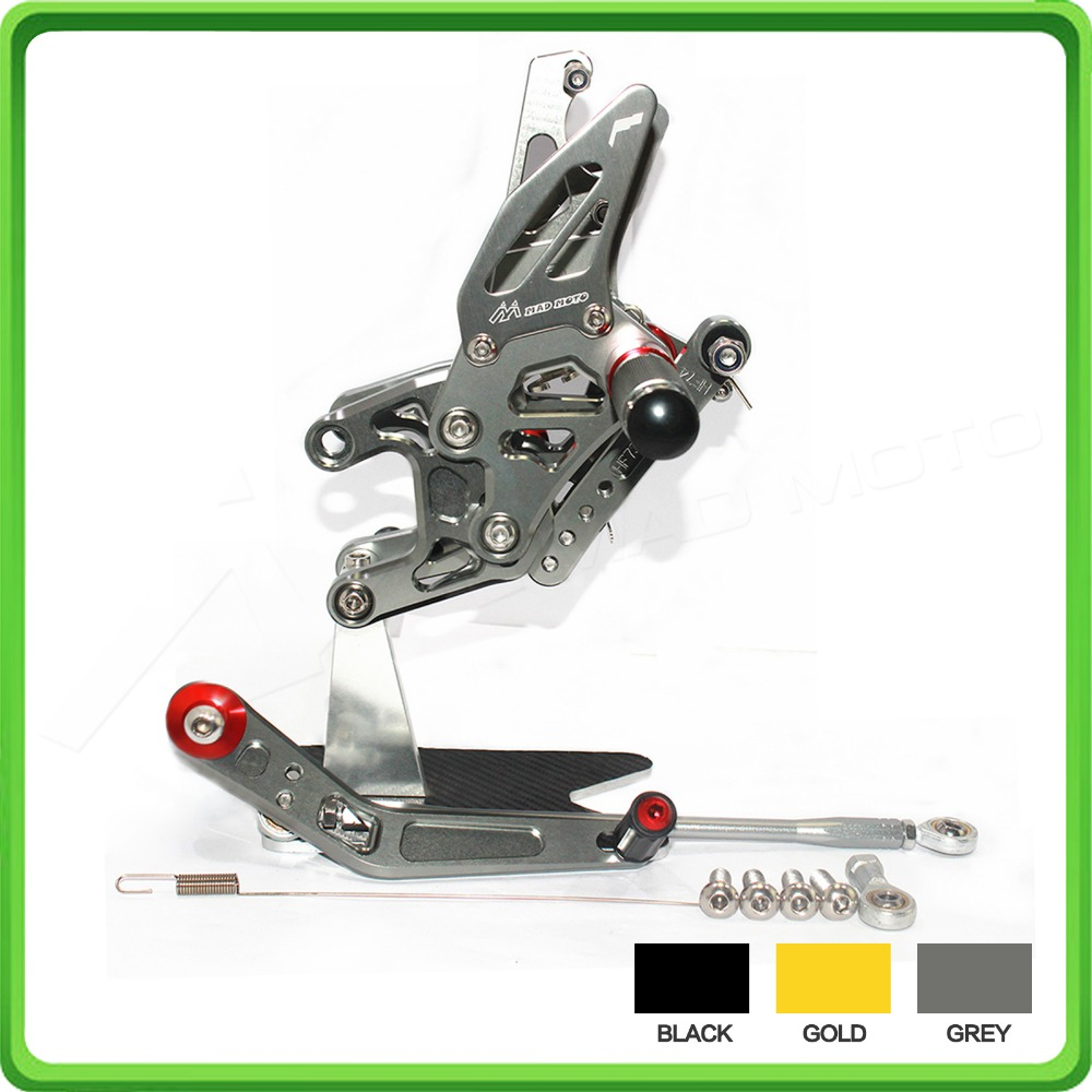 GP Shift Rearsets Rear set sets Foot Rest Pegs Pedal For KAWASAKI Ninja ZX10R ZX 10R ZX-10R 2016 16 Gray