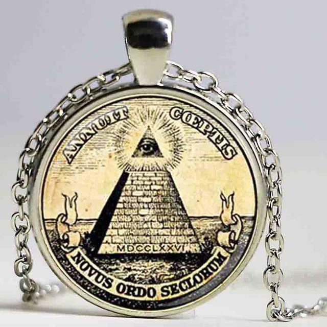 Wholesale Man Fashion symbol masonic illuminati antique print illustration poster pendant NECKLACE fashion jewely DY2