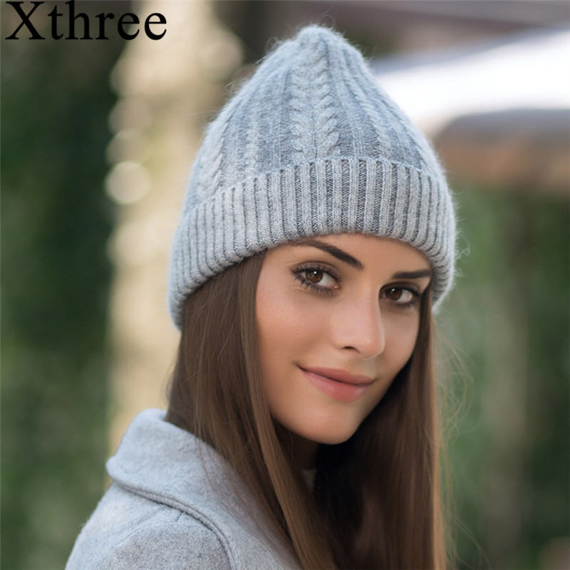 Xthree Beanie Hat Falls-Cap Rabbit-Fur Warm Winter Skullies Women for Gravity Gorros