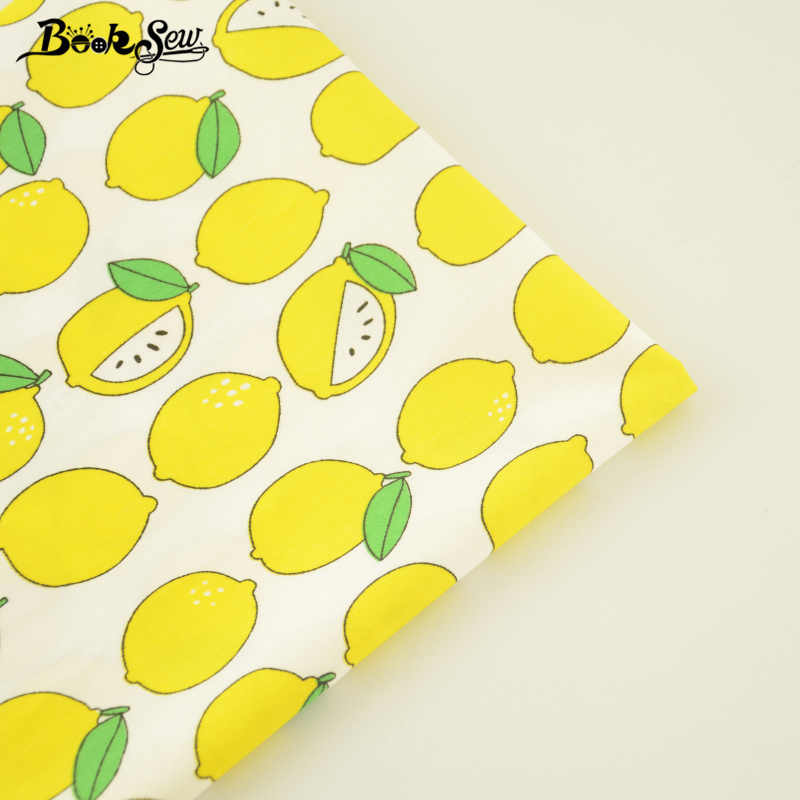 Booksew 100% Cotton Twill Fabric Yellow Lemons Design Sewing Cloth Bed Sheet Quilting Tecido For Baby DIY Patchwork Scrapbooking