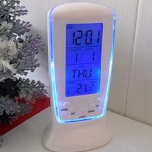 СВЕТОДИОДНЫЙ цифровой ЖК-будильник, термометр с календарем и голубой подсветкой, настольные часы, Многофункциональные цифровые часы