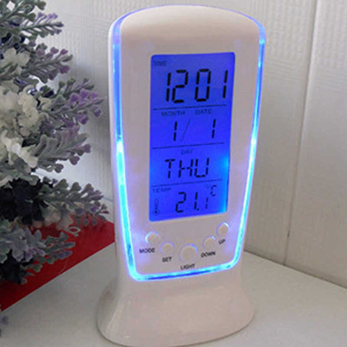 LED Digital LCD Alarm clock calendar thermometer with Blue Backlight Desk Clock