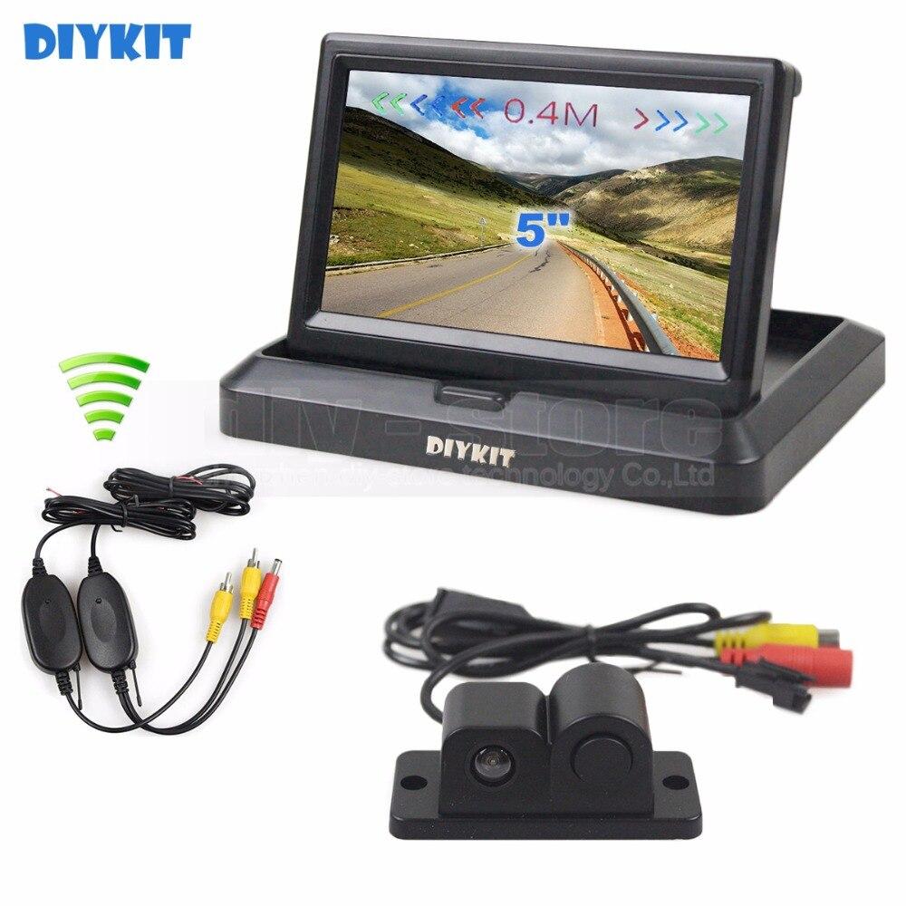DIYKIT sans fil 5 pouces pliable voiture moniteur vue arrière moniteur Parking Radar capteur 2 en 1 voiture caméra système de stationnement