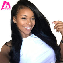 Maxglam Full Lace Human Hair Wigs With Baby Hair For Afro American Body Wave Brazilian Remy Hair Free Shipping(China)