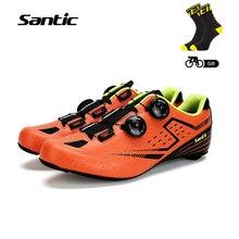 Сантич мужская Велоспорт Дорожные обувь из углеродного волокна подошва свет велосипед обувь велосипедные туфли дышащие кольцевой выравнивания европейский размер 39 -45