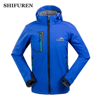 SHIFUREN Men Softshell Waterproof Jackets Outdoor Camping Trekking Hiking Jacket Winter Fleece Warm Windproof Thermal Jacket