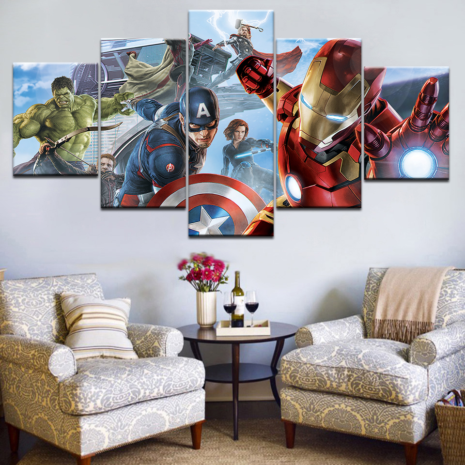 Painting Wall Art Modular Framework HD Modern Printed 5 Panel Movie Avengers Poster For Living Room Pictures Canvas Home Decor in Painting Calligraphy from Home Garden