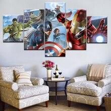 лучшая цена Painting Wall Art Modular Framework HD Modern Printed 5 Panel Movie Avengers Poster For Living Room Pictures Canvas Home Decor