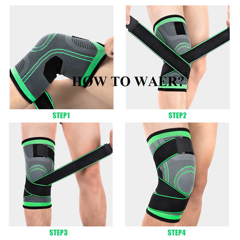 64b7042eeb ... 1 Piece Compressed Knee Brace Protector Crossfit Skidproof Knee Support  Squat Cycling Gym Bandage Protective Sport ...