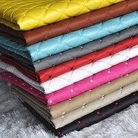 1 Metr Faux Pu Leather Diy Materiał Plaid Wzorzyste Tkaniny Tłoczone Czarny Sztucznej Skóry Syntetycznej Skóry Do Wnętrza Samochodu Sofa