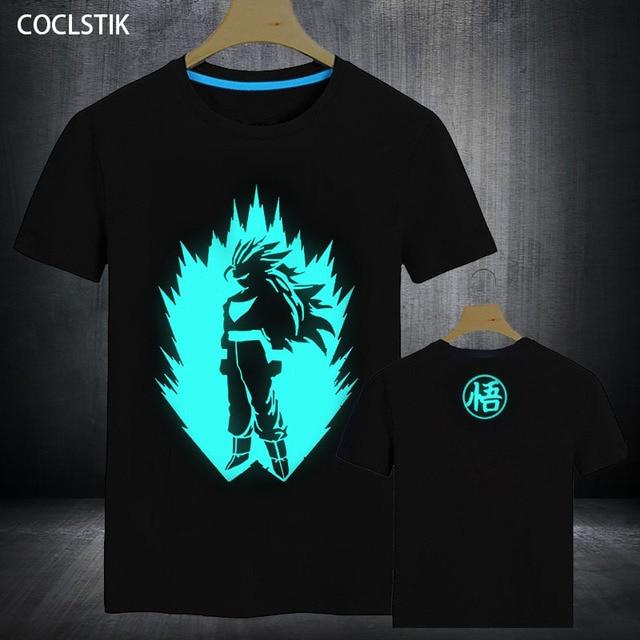 100%Cotton Mens Summer Anime Dragon Ball Z T-shirts Super Saiyan Goku T Shirt Male Fitness Casual Short Tee Shirt Tops Men S-3XL