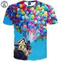 Mr.1991INC Summer Fashion Homens/Mulheres camiseta 3d impresso engraçado casa balão colorido encabeça roupas T43