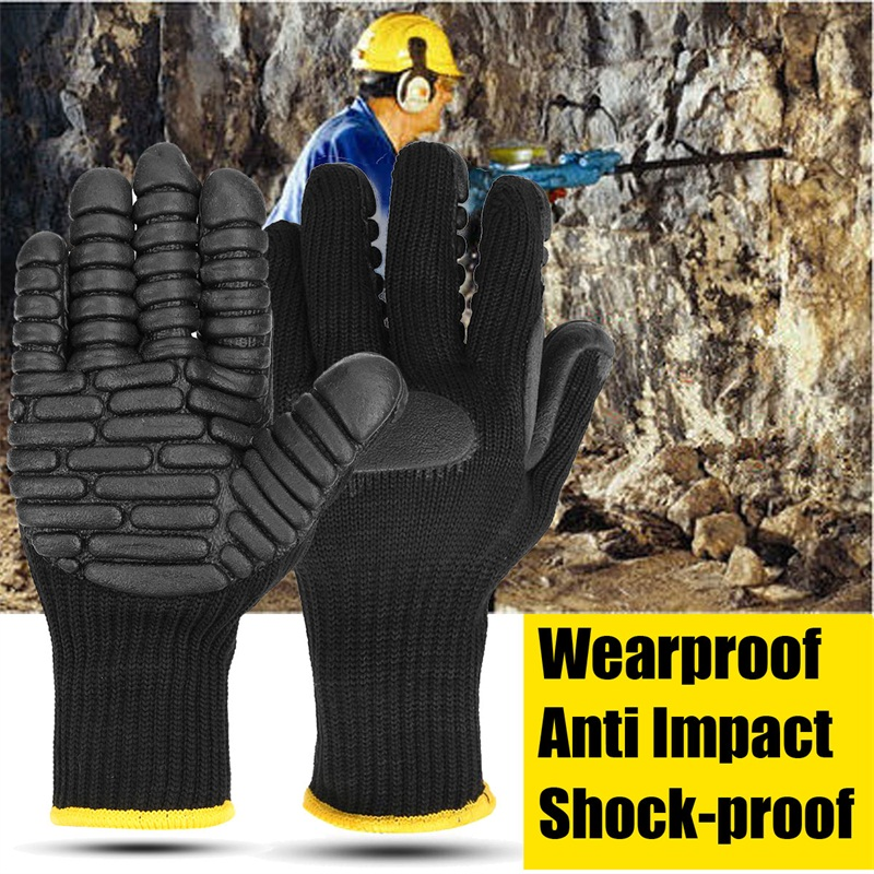 Capable Outdoor Tool Anti Vibration Safety Gloves Polyester Cotton Anti Impact Shockproof Working Safety Gloves For Drilling Tool