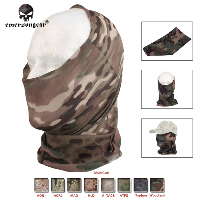 Emersongear Fast Dry Multi-functional Hood Mask Airsoft Hunting Scarf Emerson Camouflage Veil Mesh Scarves EM6628 Multicam