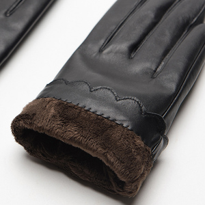 Image 5 - Gours Womens Genuine Leather Gloves Fashion Brand Black Sheepskin Touch Screen Finger Gloves Warm In Winter New Arrival GSL070