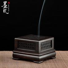 Purple Tan Plaid ebony mahogany hollow carved incense box coil furnace Aloes and sandalwood