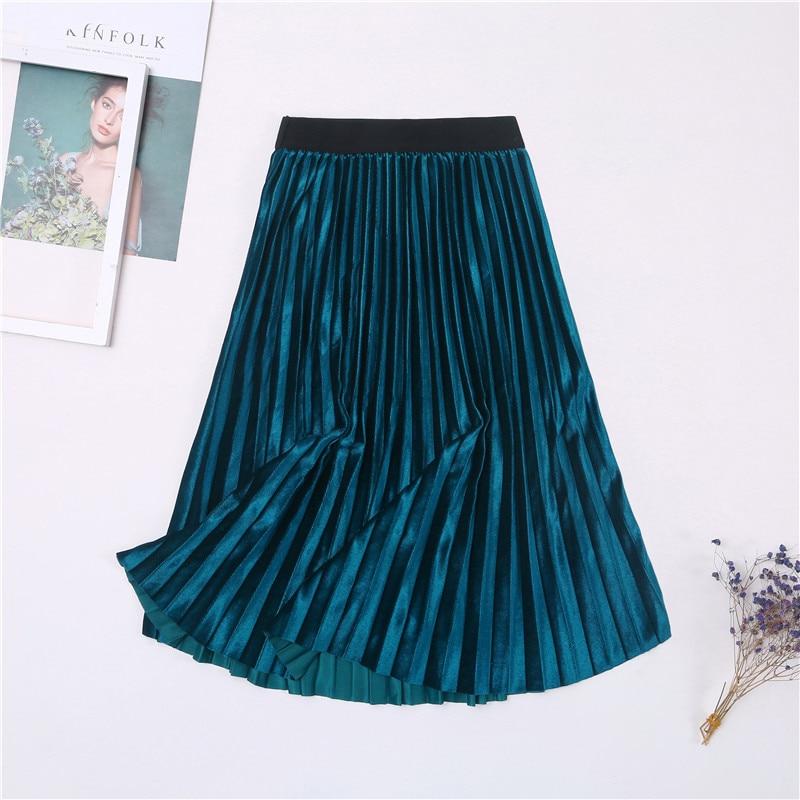 Женская винтажная осенне-зимняя бархатная юбка с высокой талией, элегантные сексуальные обтягивающие черные плиссированные юбки, женские макси юбки, женские s - Цвет: 1 Lake Blue