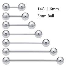SaYao, 2 штуки, 14 г, 1,6 мм, нержавеющая сталь, длинная Промышленная Штанга, кольцо, язык, ниппель, штопор, спираль, пирсинг, ювелирные изделия для тела