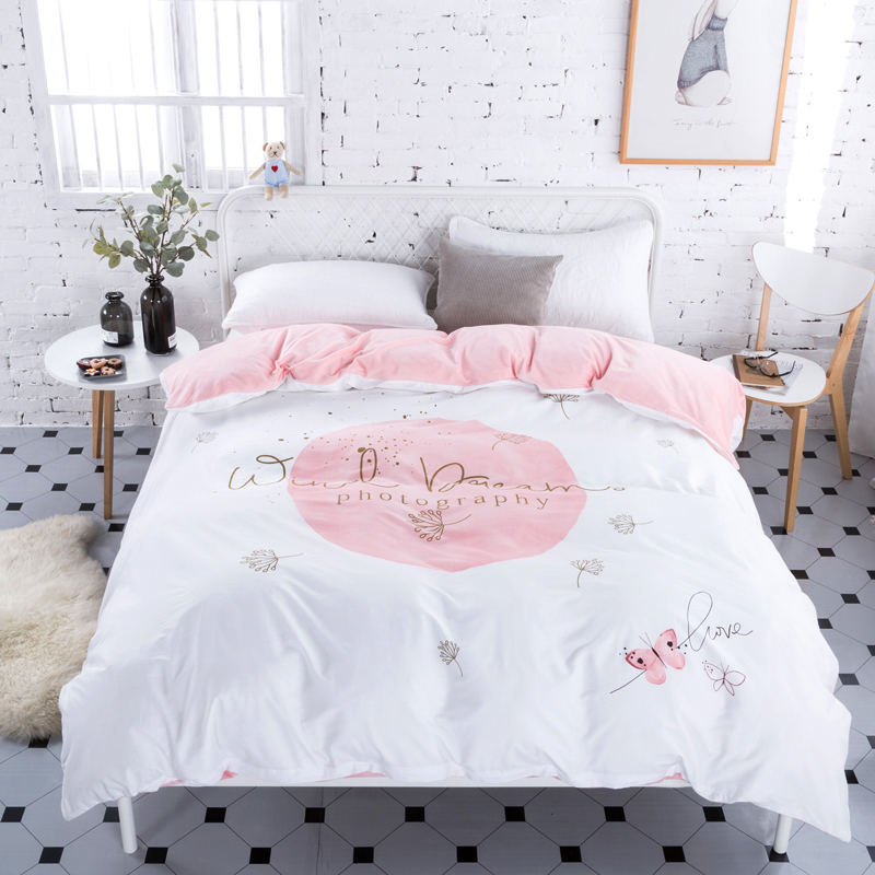 d7ae2517b18 winter crystal velvet cotton bedding sets fleece warm duvet cover bed sheet  twin full queen size 4pcs adult kid soft bedclothes