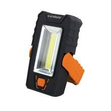 Универсальный LED фонарь Endever Elight F-207 orange  black 97110 (Ударопрочный пластик, 2 типа освещения, 120 люмен, LED (1 Вт) + 1 СОВ LED (3 Вт), оснащён поворотной подставкой со встроенным магнитом)