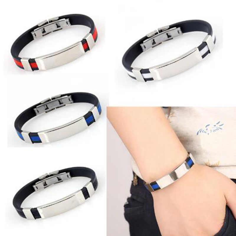 dernier super mignon vente discount Titanium Steel Silicone Fashion Bracelet Medical Alert ...