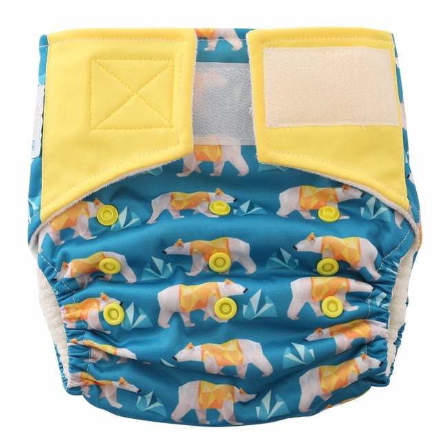 I Wanna Be Polar Bear,Jinobaby Diapers One Size Cloth Nappies (Newborn to 30lbs.)