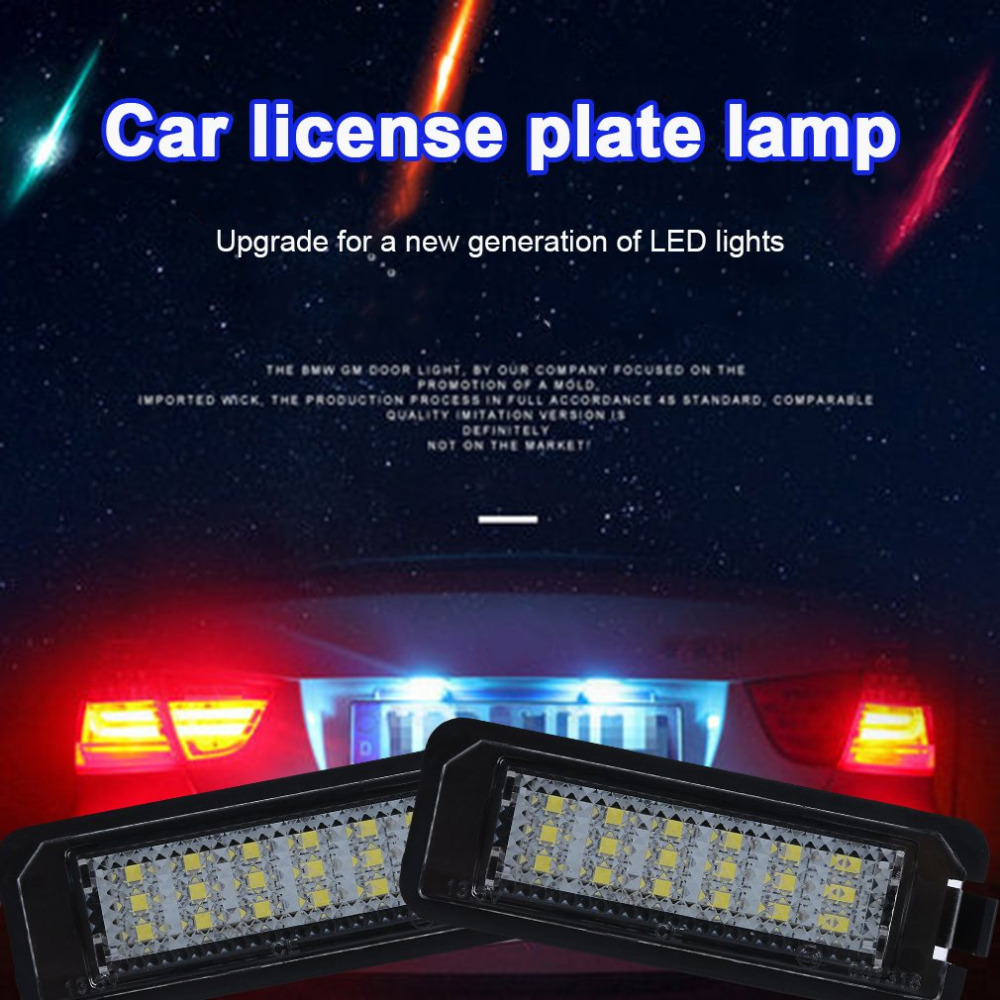 1Pair 18LED License Number Plate Light Lamp 12V 200mA Car Styling For VW Golf4 Golf5 Golf6 GTI With Decoding No Alarm
