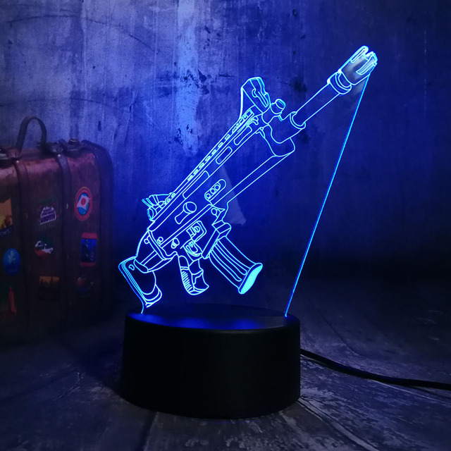 NEW Cool Battle Royale Game PUBG TPS SCAR-L Rifle LED Night Light Desk Lamp RGB 7 Color Boys Kids Toy Home Decor Christmas Gift  3