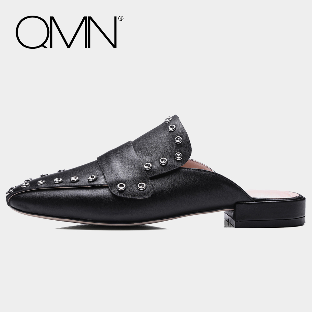 QMN genuine leather women slippers Women Square Toe Black White Leather Mules Slip On Causal Shoes Woman Slides Size 34-43 qmn women crystal embellished natural suede brogue shoes women square toe platform oxfords shoes woman genuine leather flats