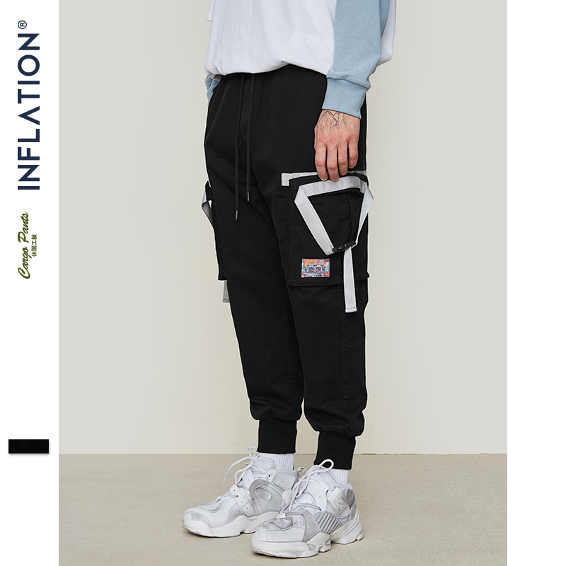 Men's Clothing 2019 Fashion Inflation Side Tape Design Leggings Pants High Street Hip Hop Cargo Pants Skateboards Streetwear Elastic Waist Trousers 9323s Nourishing Blood And Adjusting Spirit