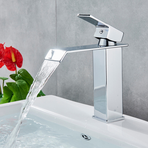 Image 4 - Wholesale And Retail Deck Mount Waterfall Bathroom Faucet Vanity Vessel Sinks Mixer Tap Cold And Hot Water Tap