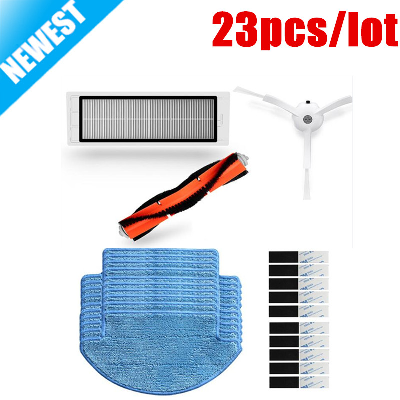 23pcs/lot Suitable for Xiaomi Mi Robot Vacuum Cleaner parts include main brush HEPA filter side brush mop Cloths magic paste suitable for xiaomi robot vacuum cleaner roborock spare parts kits side brushes hepa filter roller brush replacement