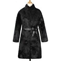 Women Elegant Stand Color Thicken Warm Winter Overcoat Shaggy Artificial Fur Jacket Coat 3XL Long Style Black Fur Coat with Belt
