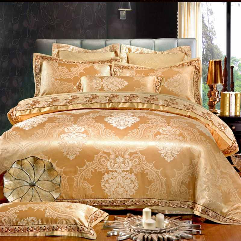 Lace Jacquard Bedding Sets Luxury Gold White Gray Satin