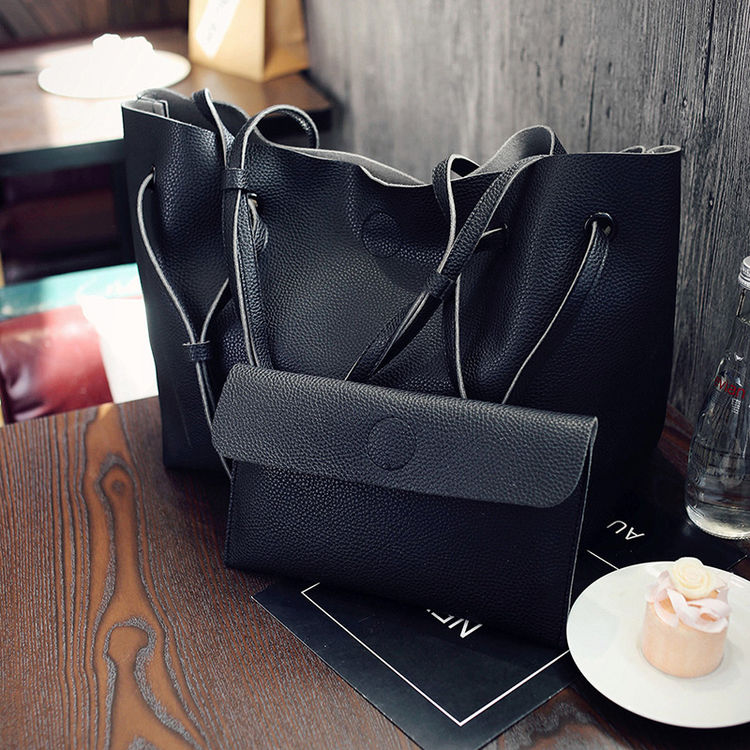2017 New Large Capacity Women Bag Fashion Pu Leather Shoulder Bag Casual Tote Bag Designer Female Bucket Handbags Composite Bag women pu leather handbags 2017 new fashion tote hand bag black brown gray casual shoulder bag woman handbag large capacity