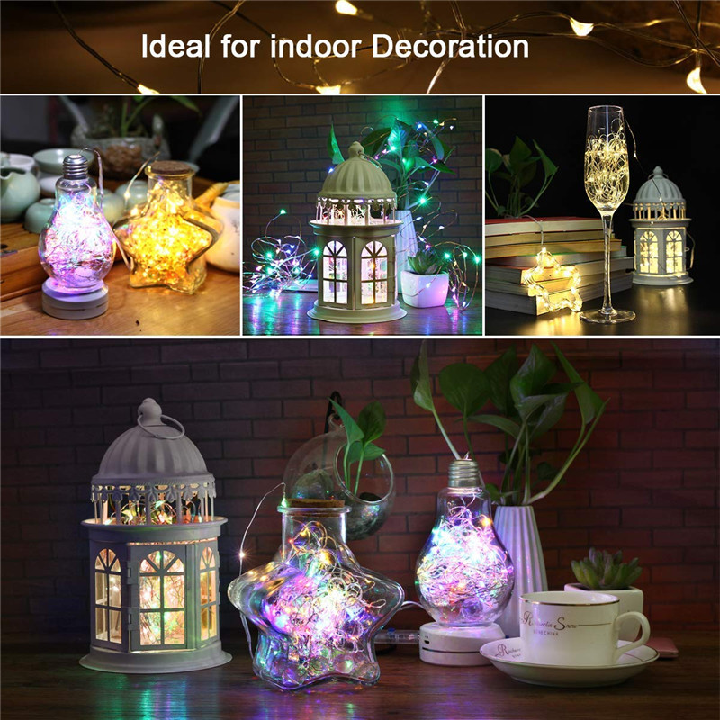 Festive outdoor copper string light 10m 20m remote control timing battery USB garden light for party Christmas decoration 3