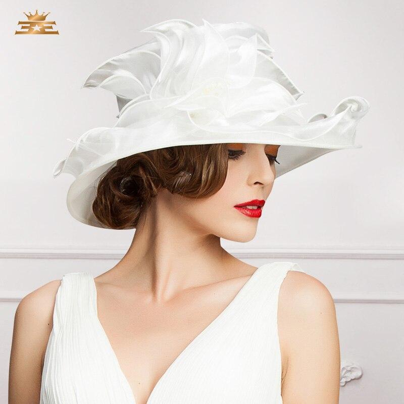 Ladies Wedding Hat Summer Large Wide Brim Organza Fedora Hat Women Summer Floral Mesh Gauze Top