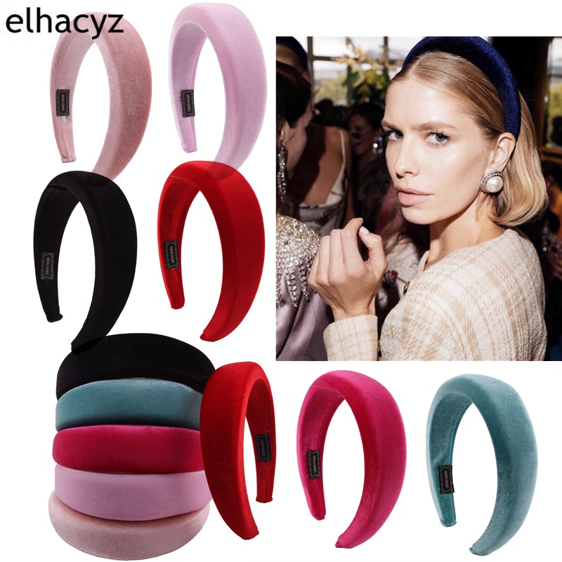 1PC Women Padded Wide Sponge Headband Glitter Velvet Sweet Candy Color Hair Hoop Vintage Party Stretchy Thick Headpiece