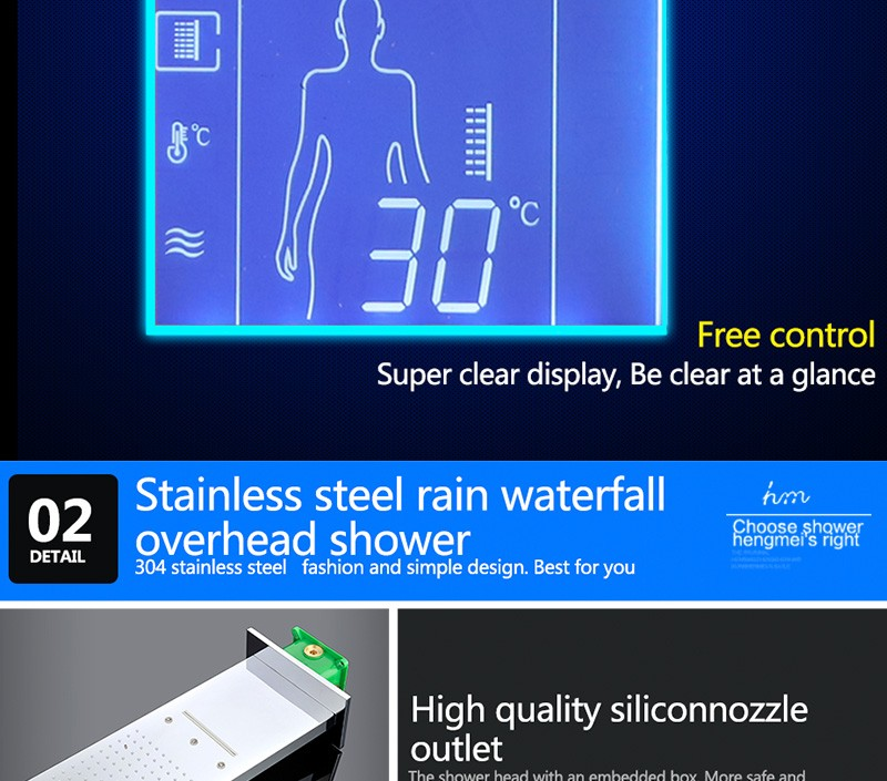 Digital Thermostat Waterfall Shower Controller Touch Control Panel Large SUS304 Rainfall Massage Bathroom Celling  (20)