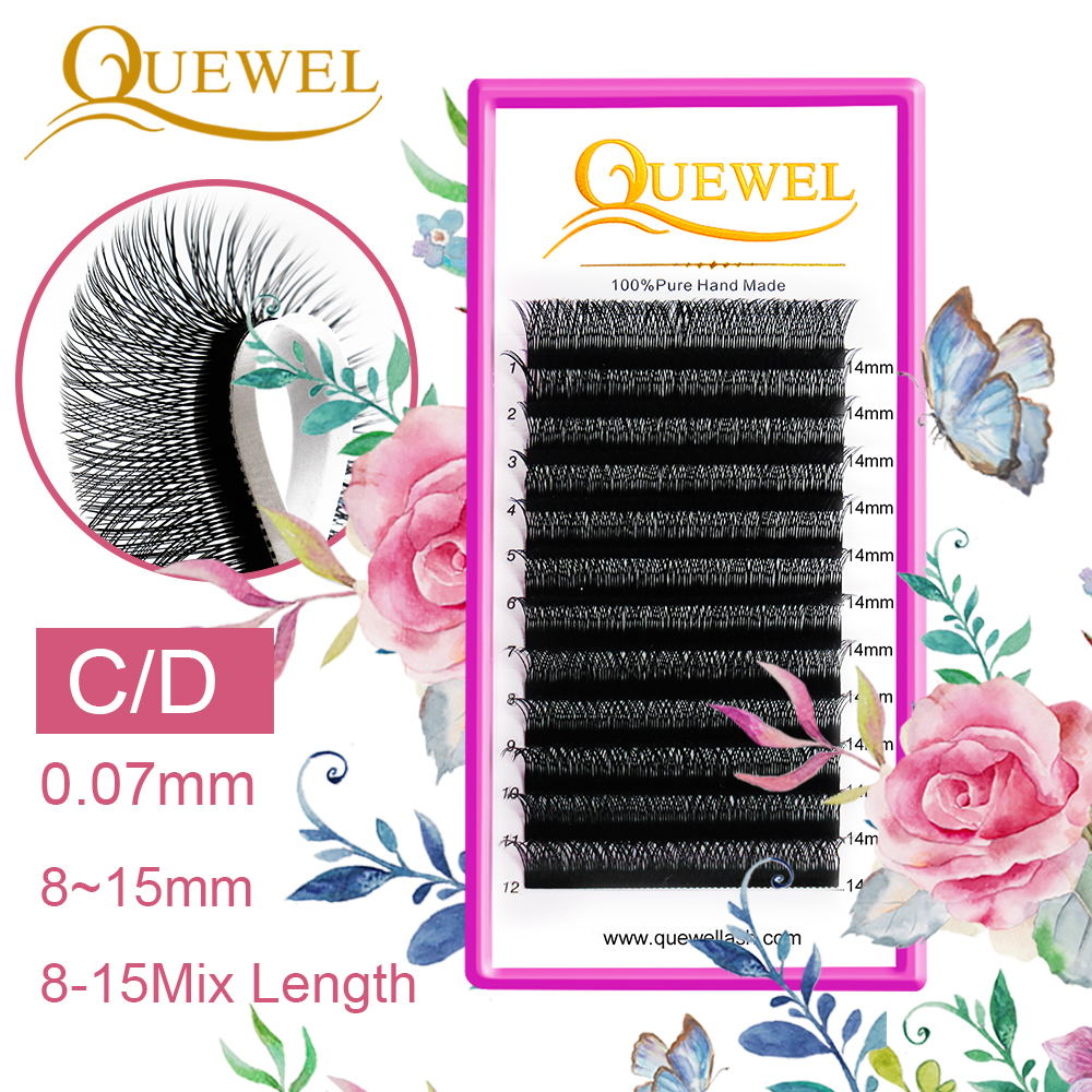 Quewel Y Shape Eyelashes Extensions Thickness 0.07MM Soft Natural Easily Grafting 8-15 MIX Individual Volume Eyelash C/D Curl