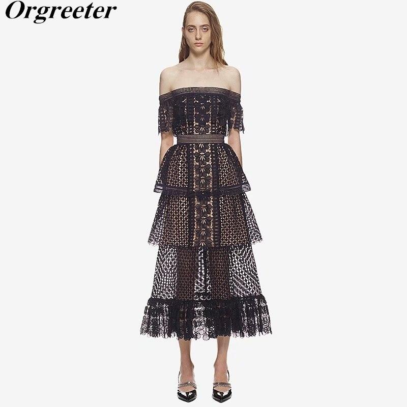 Top Quality Self Portrait New Black Lace Dress 2018 New Off the shoulder patchwork Hollow Dress
