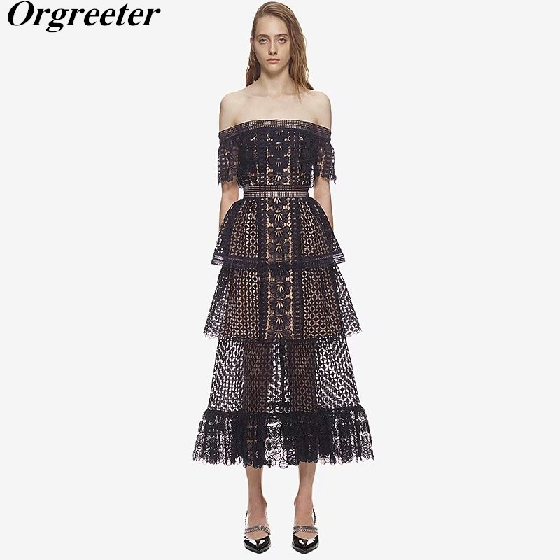 Top Quality Self Portrait New Black Lace Dress 2018 New Off the shoulder patchwork Hollow Dress Sexy backless Cake Lace Dress