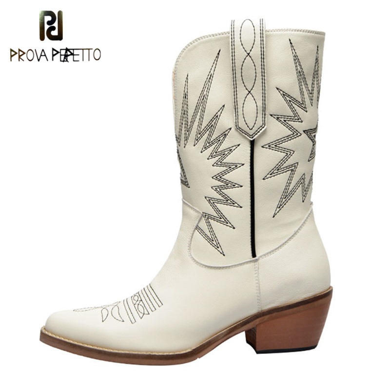 Prova Perfetto Western Boots Women Autumn Winter Slip On Solid Color Boots Pointy Toe Cowboy Cowgirl