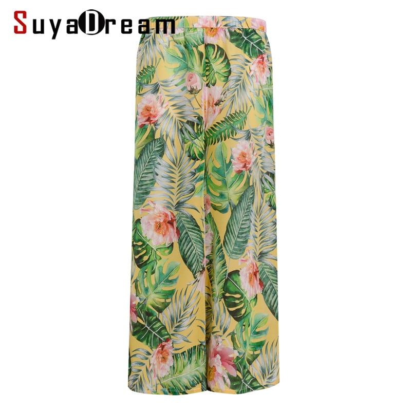 Women Pants 100 Real Silk Crepe Print Wide Leg Pants Elastic Waist Holiday Loose Ankle length
